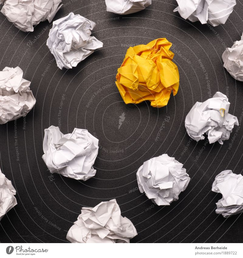 Yellow Business Design Power Success Creativity Study Idea Paper Symbols and metaphors Wrinkles Inspiration Workshop Workplace Piece of paper Innovative