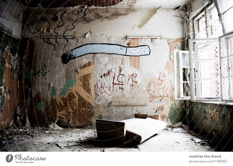 Old Construction site Loneliness Dark Cold Building Graffiti Room Flat (apartment) Gloomy Factory Characters Smoking Living or residing Sofa Exceptional