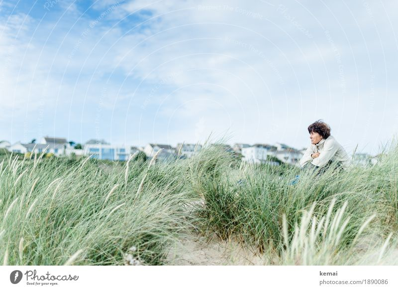 Woman sitting in the dunes looking ahead Harmonious Well-being Contentment Relaxation Calm Leisure and hobbies Vacation & Travel Freedom Summer vacation Beach