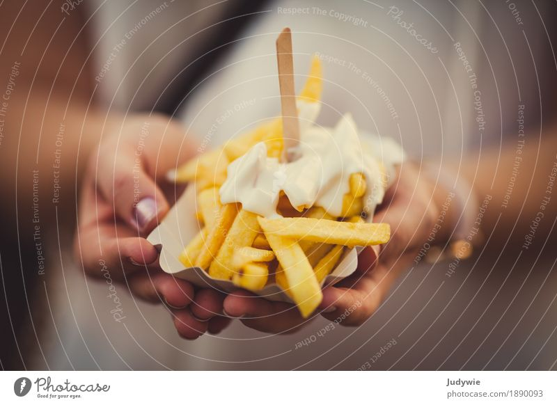 Once French fries white Food Potatoes Mayonnaise Nutrition Eating Lunch Vegetarian diet Fast food Finger food Snack Healthy Healthy Eating Overweight Yellow