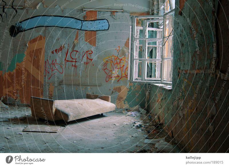 House (Residential Structure) Graffiti Style Interior design Flat (apartment) Elegant Broken Living or residing Lifestyle Smoking Sofa Decline Cigarette Window pane Redecorate
