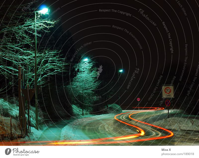 S-CURVE Night sky Winter Climate Weather Bad weather Ice Frost Snow Transport Traffic infrastructure Road traffic Motoring Street Crossroads Lanes & trails