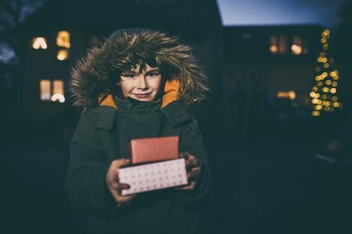 Boy with Christmas gifts, Bokeh lights Winter Christmas & Advent Child Human being Masculine Infancy 1 3 - 8 years Joy Contentment Joie de vivre (Vitality) Gift