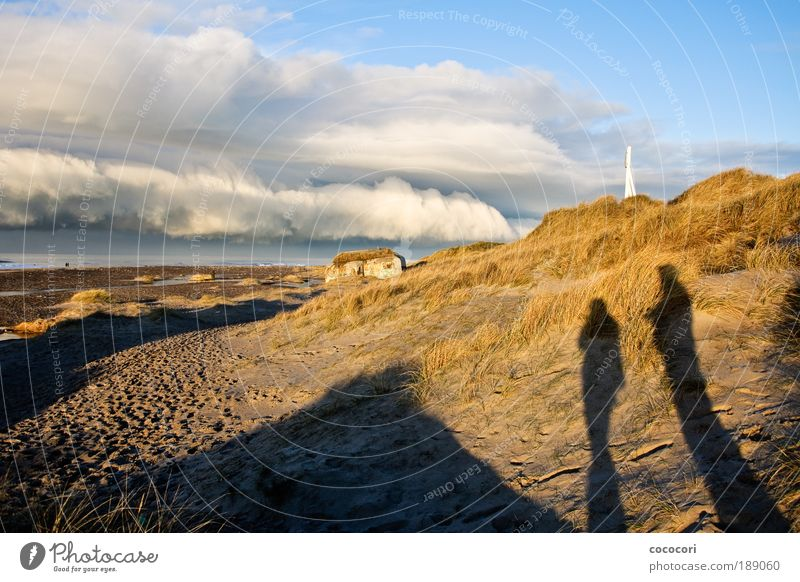 beach viewer Human being Nature Landscape Sand Clouds Winter Coast Beach North Sea Fishing village Ruin Manmade structures Concrete Far-off places Cold Blue