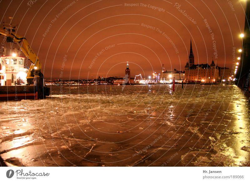 Water City Winter Life Power Industry Bridge Night sky Light Build Nature