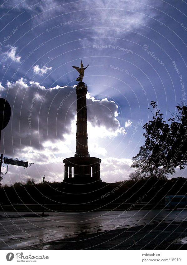 Shining angel Sunbeam Clouds Europe Angel peace pillar Berlin Lamp Sky Illuminate