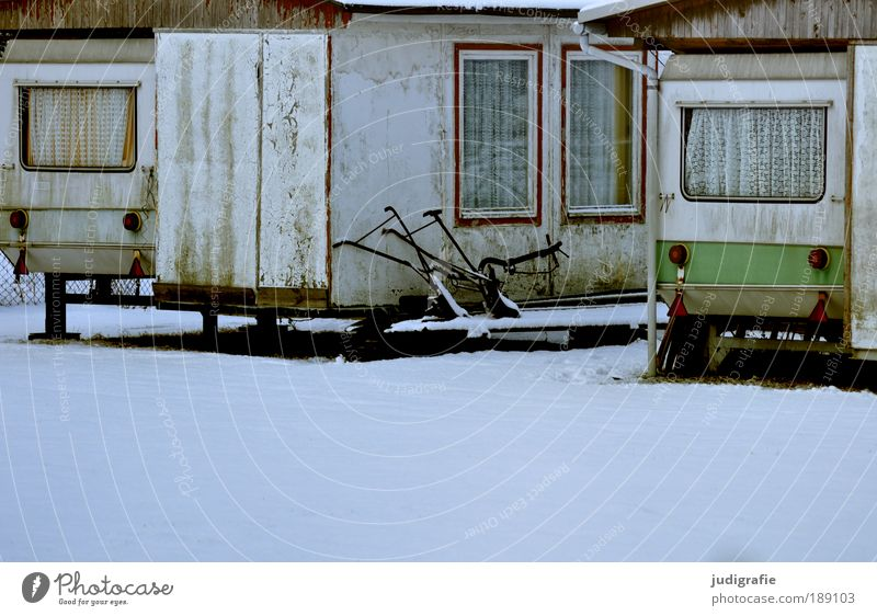 Old Vacation & Travel Winter Relaxation Cold Snow Window Change Idyll Camping Curtain Caravan Winter vacation Vacation home