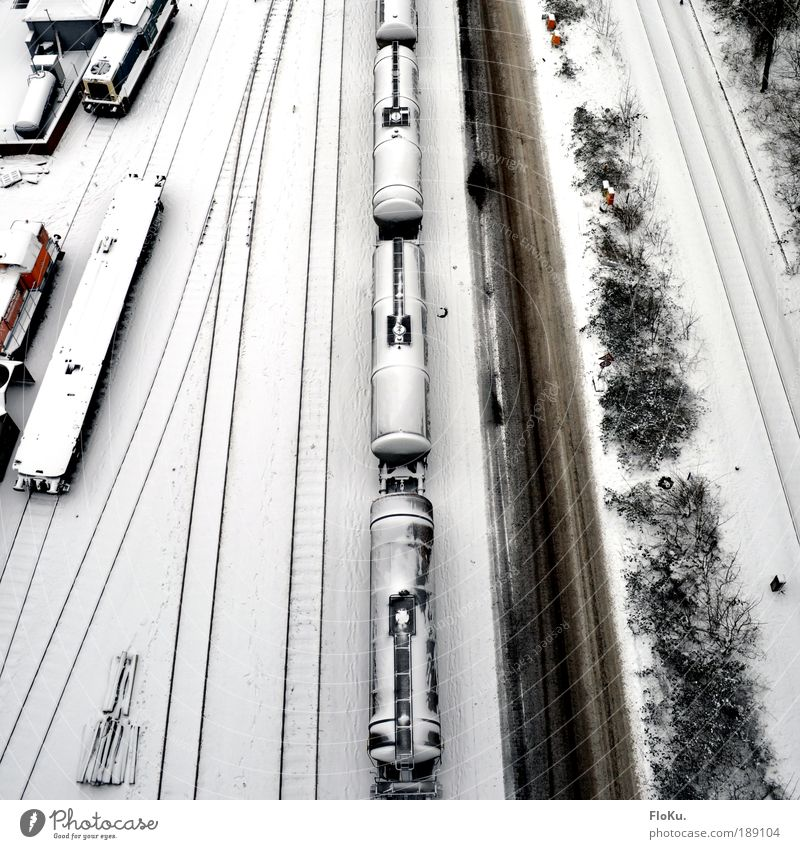 Old White Winter Black Cold Snow Lanes & trails Ice Transport Railroad Frost Logistics Railroad tracks Truck Traffic infrastructure Aerial photograph