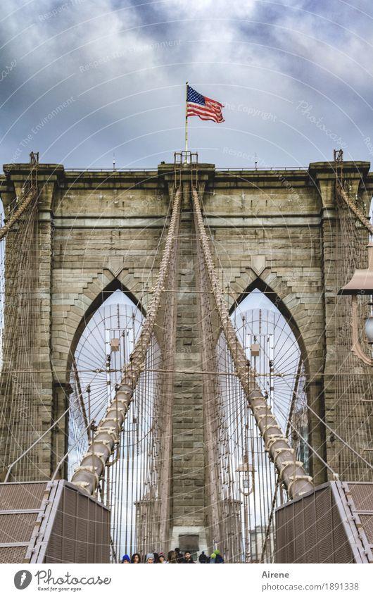 Change of orientation Human being Group New York City Americas Bridge Bridge pier Suspension bridge Prop Brooklyn Bridge Wire cable Stone Metal Flag
