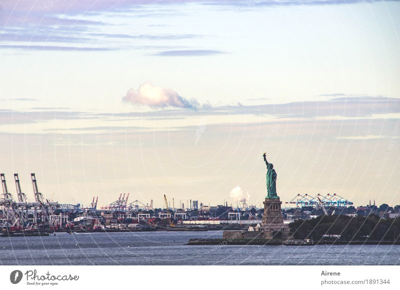 I am so free Water Sky Clouds New York City Tourist Attraction Landmark Statue of Liberty Harbour Famousness Free Blue Orange Turquoise Endurance Unwavering