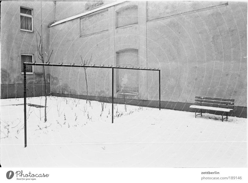 Winter Loneliness Cold Snow Sadness Grief Gloomy Bench Longing Middle GDR Downtown Berlin Backyard Rod Siberia Courtyard
