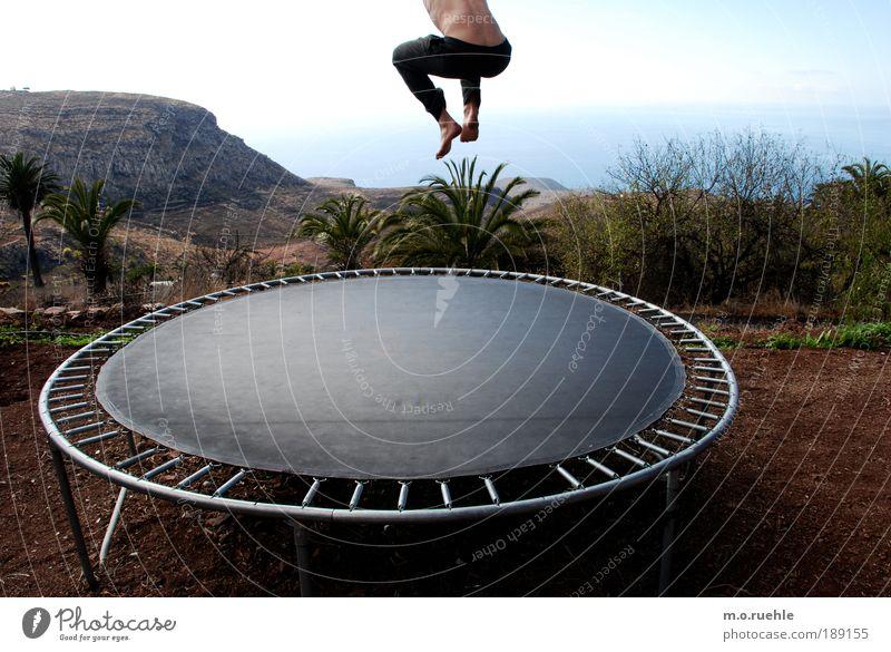 Human being Summer Joy Vacation & Travel Life Jump Freedom Feet Landscape Air Legs Masculine Free Rock Bottom