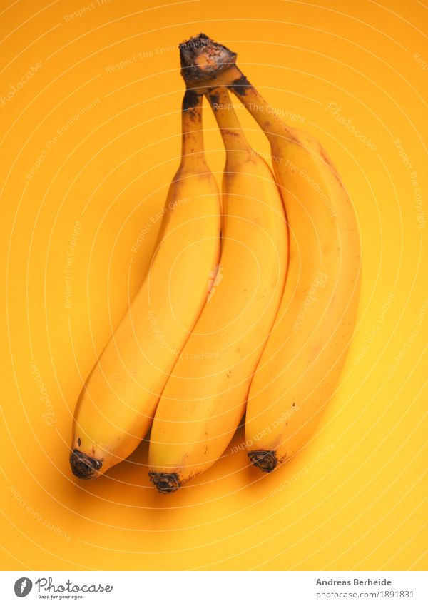 Three bananas Food Fruit Breakfast Organic produce Vegetarian diet Healthy Eating Wellness Life Delicious Sweet Yellow fresh juicy meal nutrition organic ripe