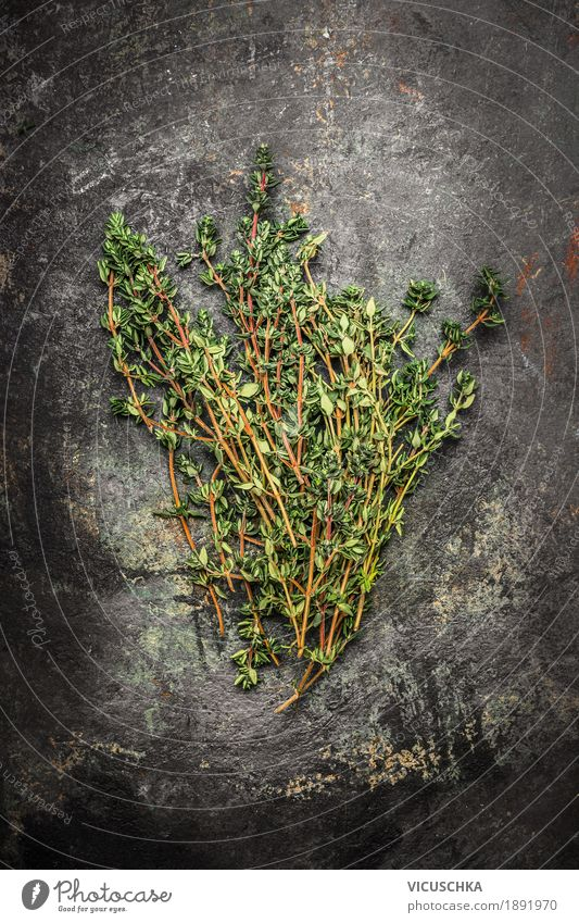 thyme Food Herbs and spices Nutrition Organic produce Style Design Healthy Healthy Eating Life Restaurant Fragrance Aromatic Thyme Rustic Dark Medicinal plant