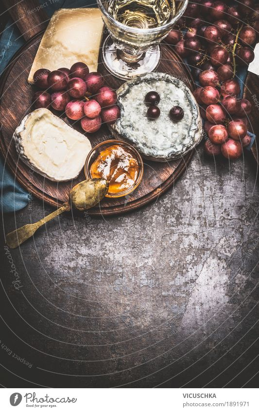 Cheese with wine, grape and honey-mustard sauce Food Fruit Herbs and spices Nutrition Banquet Beverage Wine Crockery Style Design Table Restaurant Brie Gourmet
