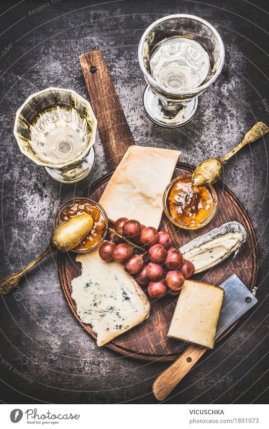 Cheese platter with white wine Food Fruit Nutrition Beverage Wine Style Design Table Restaurant Sauce Gourmet Brie honey Snack Fine White wine cheese platter