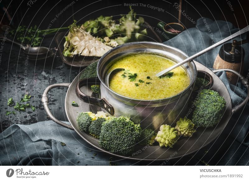 Saucepan with green broccoli soup Food Vegetable Soup Stew Herbs and spices Nutrition Lunch Dinner Buffet Brunch Organic produce Vegetarian diet Diet Crockery
