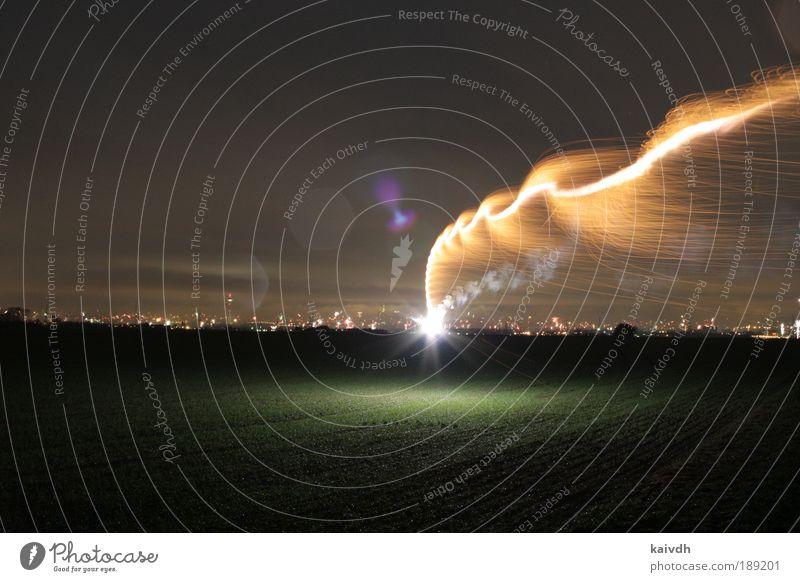 meteor hits skyline New Year's Eve Landscape Earth Night sky Horizon Field Skyline Threat Gigantic Glittering Bright Speed Yellow Gold Black Beautiful Dangerous