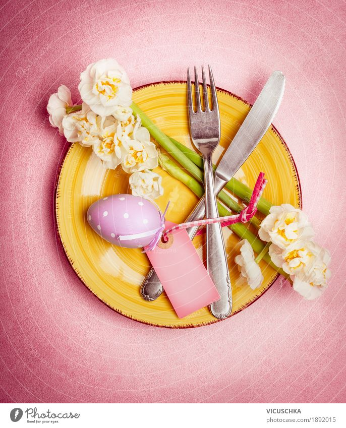 Easter table decoration with egg and flowers Crockery Plate Cutlery Style Design Living or residing Table Restaurant Feasts & Celebrations Yellow Pink Tradition