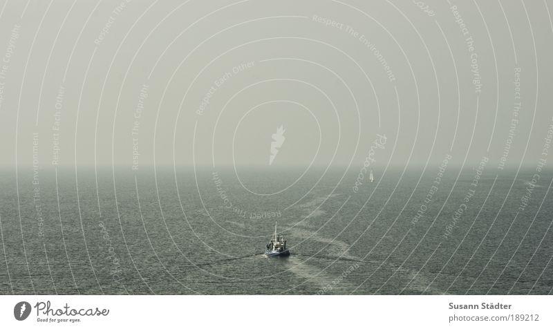 Ocean Watercraft Coast Waves Horizon Island Tracks Illuminate Direction Bay Traffic infrastructure Navigation Baltic Sea Fishing (Angle) Sailboat Fisherman