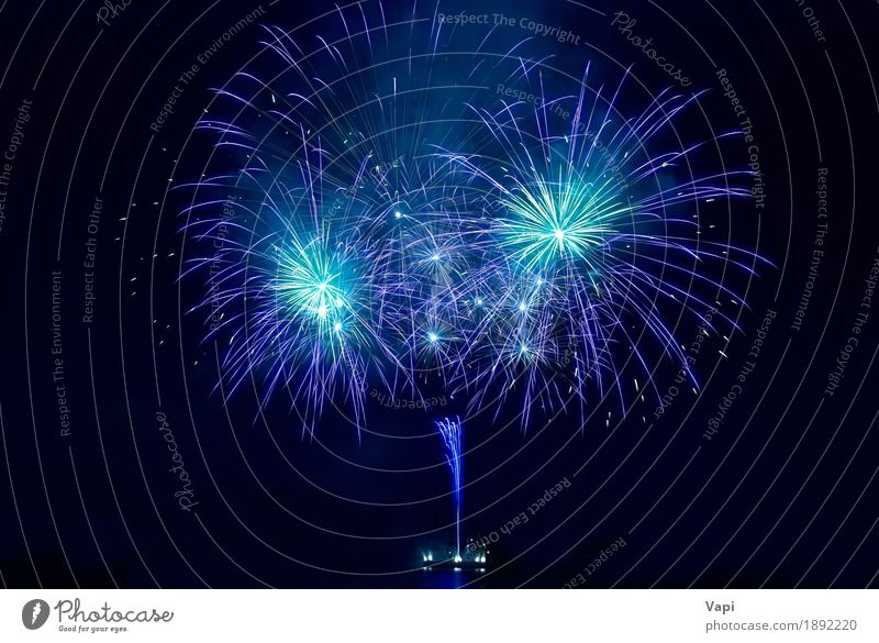 Colorful fireworks on the black sky Sky Blue Christmas & Advent Colour White Joy Dark Black Freedom Feasts & Celebrations Party Design Bright Violet New Shows