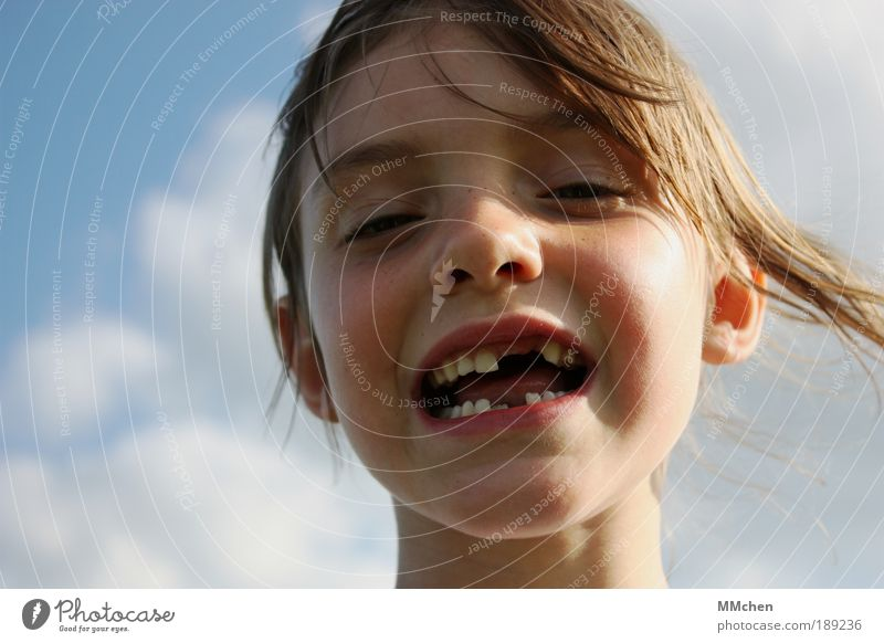 Incomplete Summer Child Schoolchild Girl Face Teeth 3 - 8 years Infancy Laughter Tooth space Milk teeth Grinning Loose tooth Shaky Colour photo Exterior shot