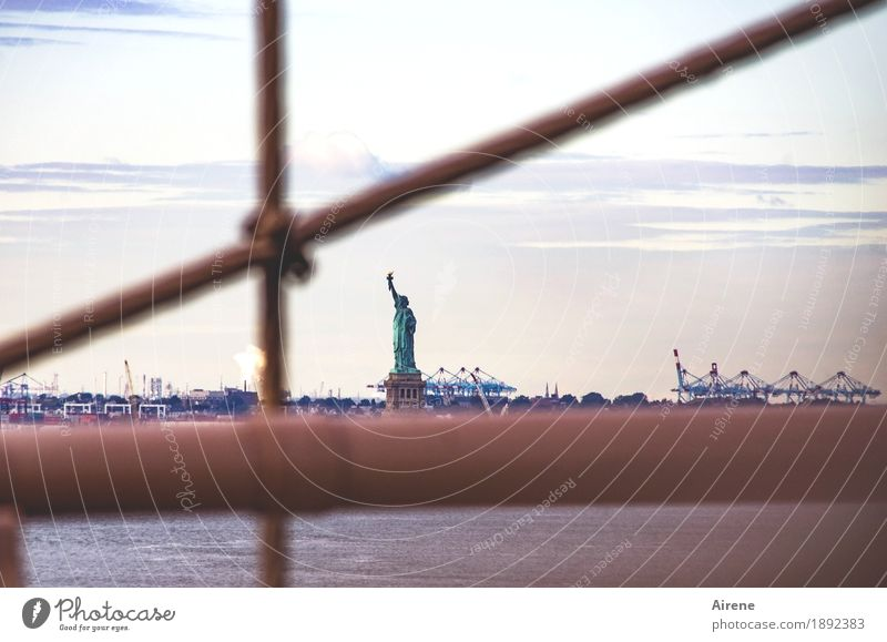 certain restrictions New York City USA Capital city Deserted Bridge Bridge railing Tourist Attraction Monument Statue of Liberty Harbour Pipe Famousness Brown