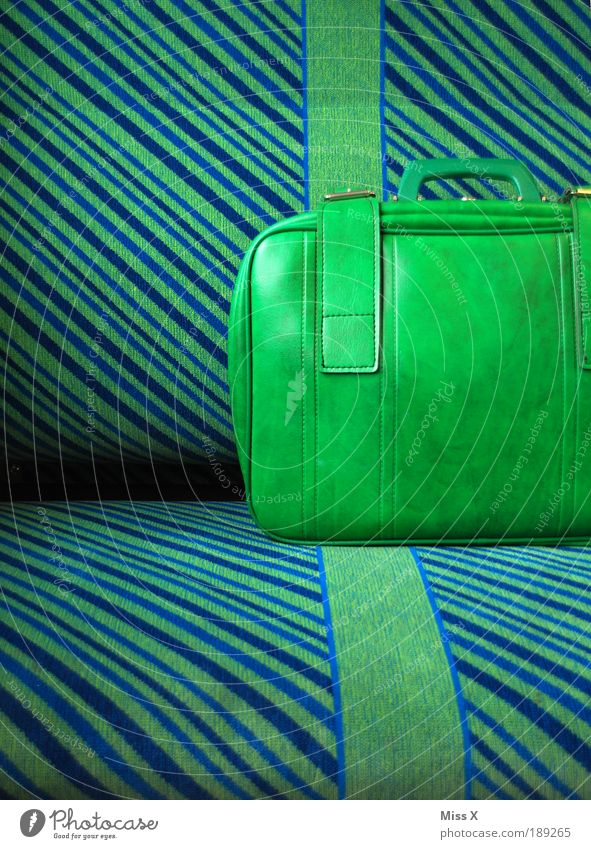 the last suitcase Transport Train travel Commuter trains Underground Train compartment Kitsch Retro Blue Green Freedom Suitcase Vacation & Travel Driving Depart