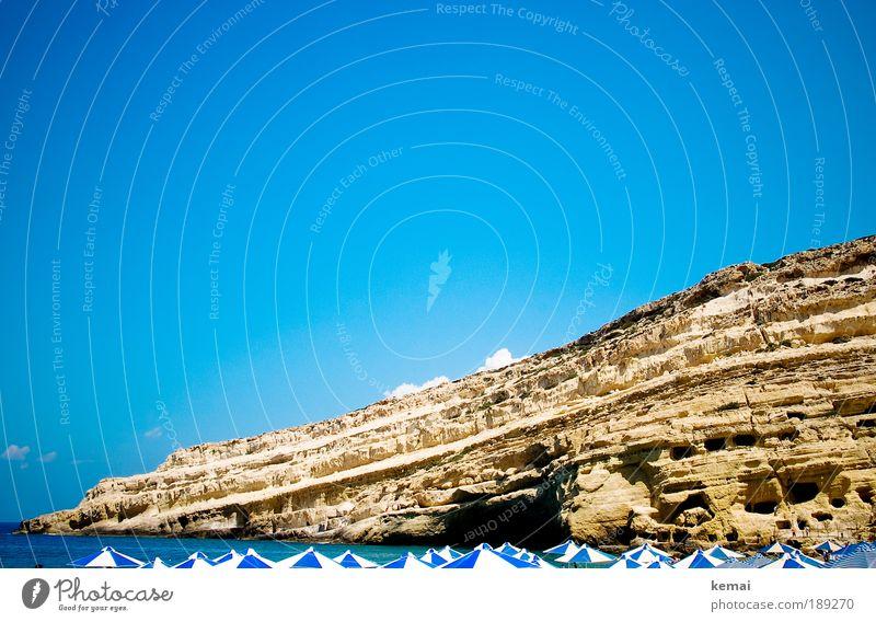 Blue-white summer history sunbathe Vacation & Travel Tourism Trip Summer Summer vacation Sun Sunbathing Beach Ocean Mountain Cave Cave residence matala