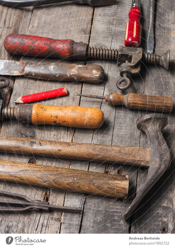 Old Background picture Wood Dirty Retro Workshop Tool Pencil Second-hand Hammer Grunge Workbench Joiners workshop