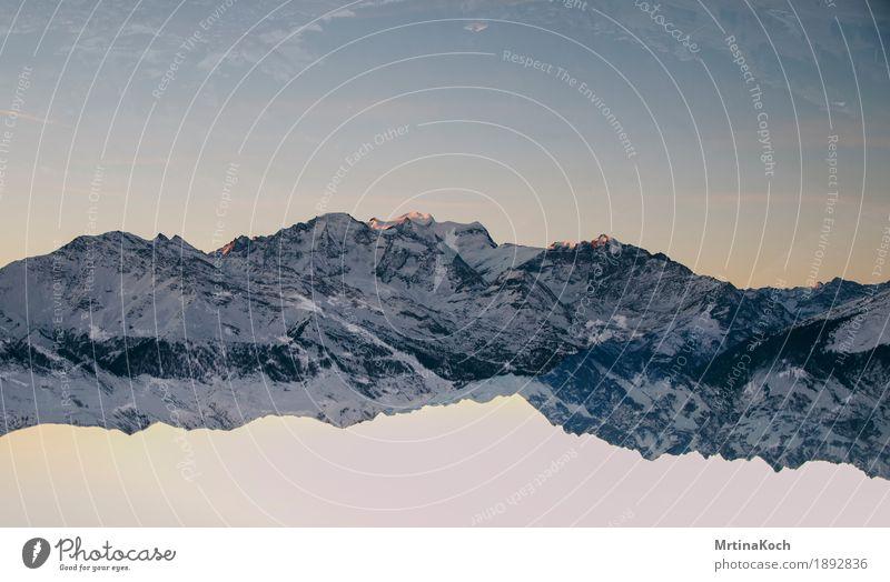 Mountain world III Nature Cloudless sky Autumn Winter Snow Snowfall Rock Alps Peak Snowcapped peak Glacier Style Symmetry Double exposure Card