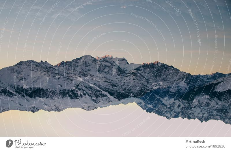 Nature Christmas & Advent Winter Mountain Autumn Snow Style Rock Snowfall Peak Card Alps Snowcapped peak Cloudless sky Double exposure Glacier