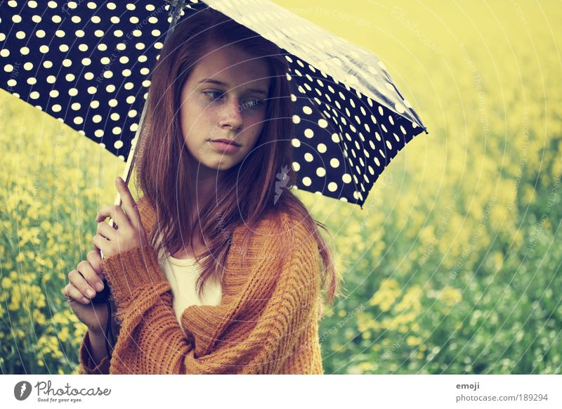 Human being Youth (Young adults) Beautiful Green Yellow Woman Feminine Landscape Adults Looking away Colour photo Umbrella Meditative Sunshade