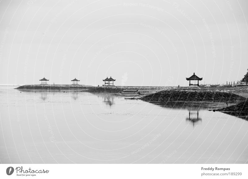 Quiet Morning In Bali Landscape Beautiful weather Beach Fishing village Tourist Attraction Peace Serene Life Black & white photo Exterior shot Deserted