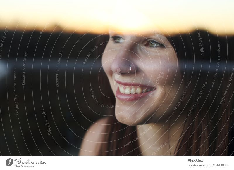 great picture title is out today Well-being Contentment Window Young woman Youth (Young adults) Face 18 - 30 years Adults Landscape Horizon Piercing Brunette