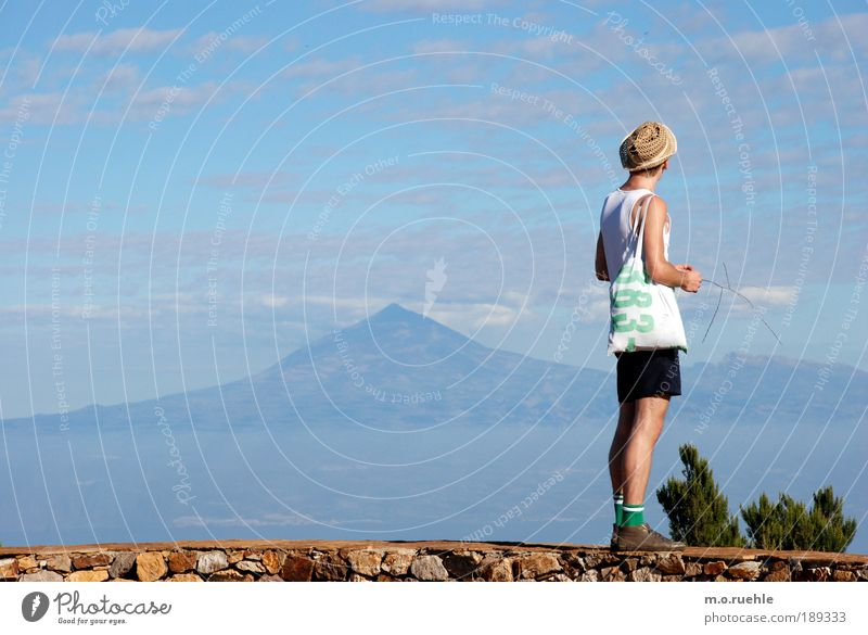 Human being Nature Youth (Young adults) Adults Far-off places Life Environment Landscape Freedom Mountain Moody Legs Feet Horizon Hiking Masculine