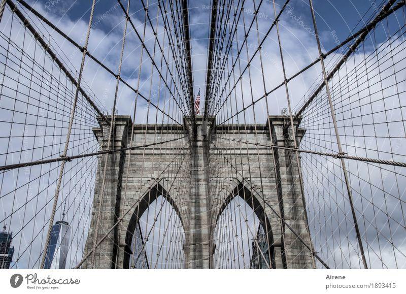 balancing act New York City Americas Bridge Suspension bridge Tourist Attraction Brooklyn Bridge Wire cable Stone Steel Line Network Blue Gray Symmetry Archway