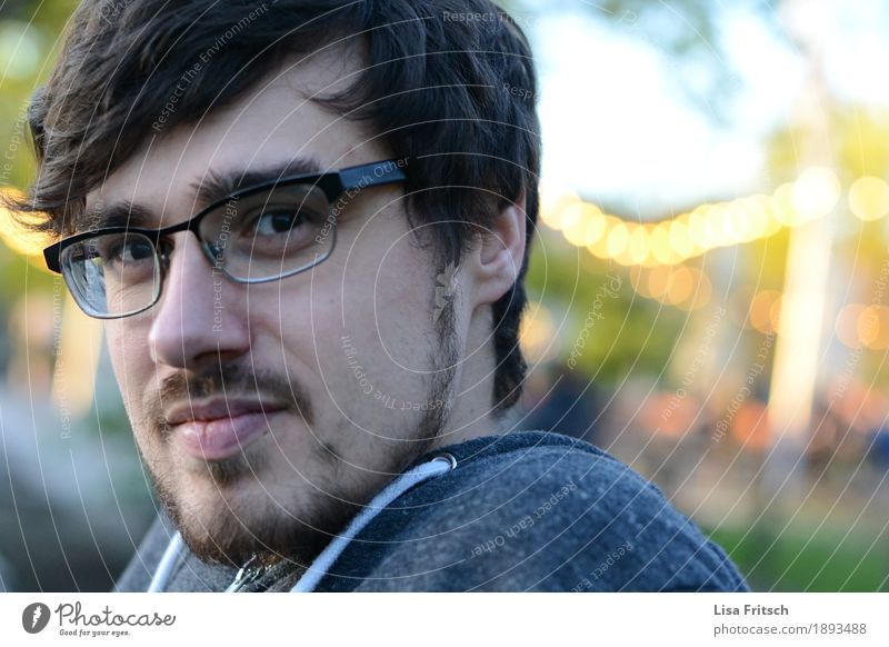 young man with beard and glasses Masculine Young man Youth (Young adults) Head Hair and hairstyles Face 18 - 30 years Adults Eyeglasses Brunette Facial hair