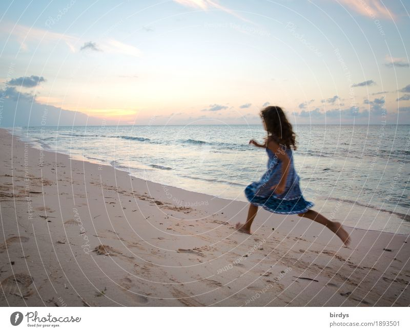 Live freedom Vacation & Travel Beach Ocean Feminine Girl 1 Human being 8 - 13 years Child Infancy Sunrise Sunset Coast Dress Brunette Long-haired Curl Running