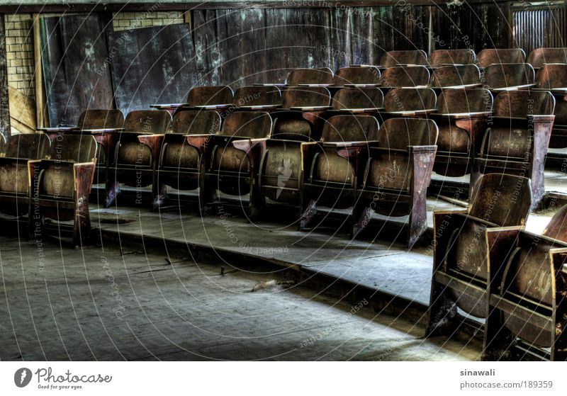 rest Interior design Furniture Education Science & Research Lecture hall Retirement Deserted Ruin Stairs Monument Wood Old Exceptional Dark Brown Gray