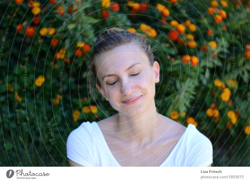 head cinema Healthy Life Harmonious Well-being Contentment Relaxation Feminine Young woman Youth (Young adults) Adults 18 - 30 years Flower Bushes Blonde Braids