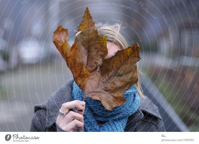 sheet in front of head Human being Feminine Head Hair and hairstyles Face Hand 1 Environment Nature Autumn Winter Bad weather Wind Leaf Observe Discover