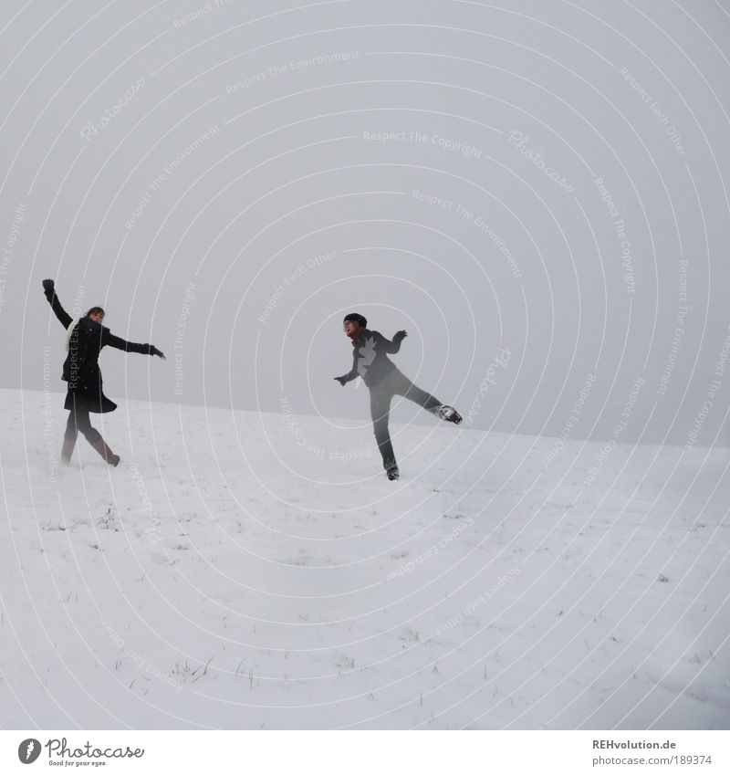 Human being Youth (Young adults) White Joy Winter Adults Love Feminine Cold Snow Gray Movement Happy Couple Friendship Healthy