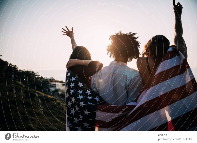Group of mutli ethnical millennial friends holding USA flag Human being Vacation & Travel Youth (Young adults) Sun Joy Lifestyle Happy Freedom Tourism