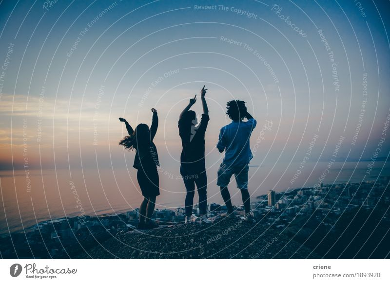Group of multi-ethnic friends partying and dancing outside Human being Youth (Young adults) Summer Young woman Young man Joy 18 - 30 years Mountain Adults Lifestyle Freedom Feasts & Celebrations Party Group Together Friendship