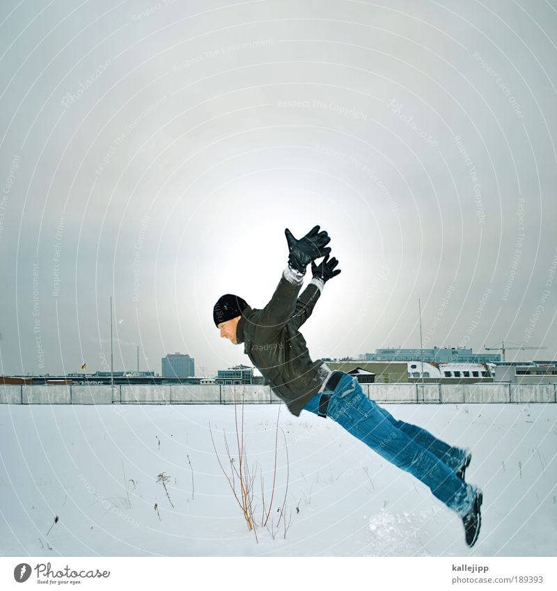 Human being Man Winter Clouds House (Residential Structure) Adults Life Snow Playing Dream Bird Ice Flying Leisure and hobbies Masculine Airplane