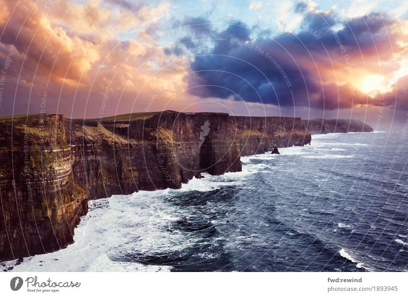 Cliffs of Moher Vacation & Travel Trip Adventure Far-off places Freedom Sightseeing Ocean Waves Nature Landscape Clouds Horizon Sunrise Sunset Sunlight Spring