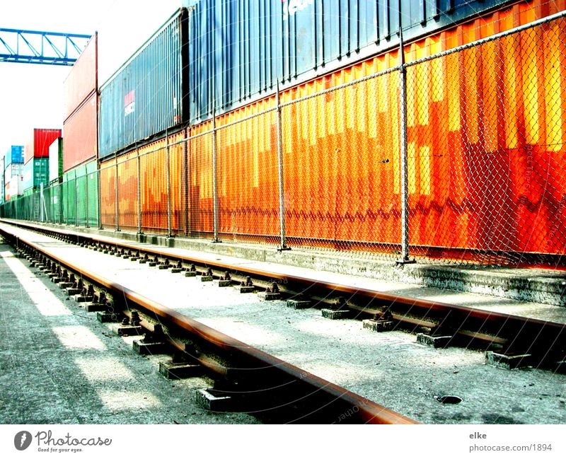container line Logistics Railroad tracks Fence Navigation top up a bit Container Contrast ship