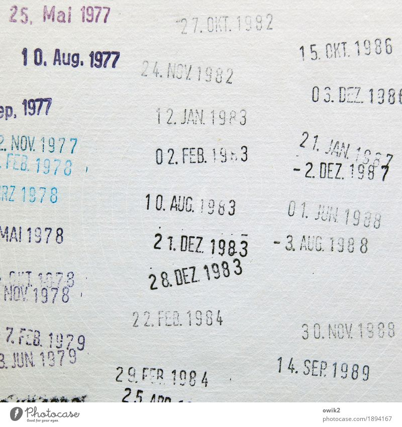 time pressure Paper Date stamp Characters Digits and numbers Past Memory Former Old fashioned Library return Book Binding Month Year date Stamped Multicoloured