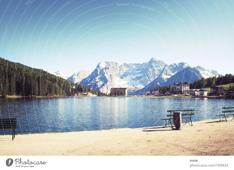 mountain idyll Vacation & Travel Tourism Trip Mountain Hiking Environment Nature Landscape Sky Cloudless sky Summer Beautiful weather Forest Alps Peak